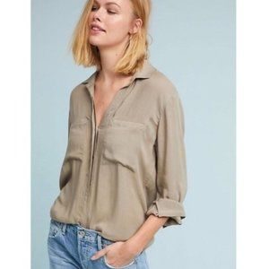 Cloth & Stone fray hem taupe button down
